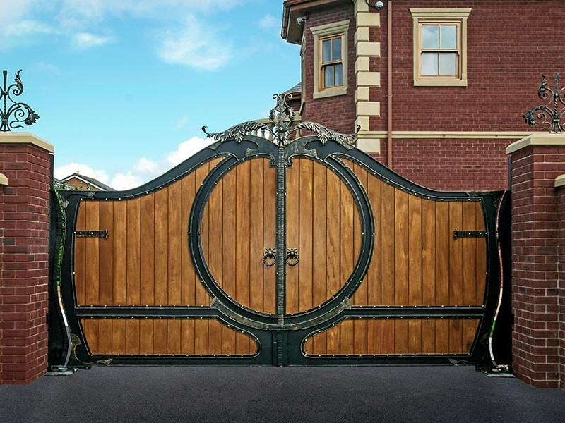 Wooden Driveway Gates Wood Clad Inserts With Iron Frames